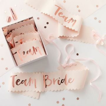 Pink & Rose Gold Team Bride Sashes - pack of 6